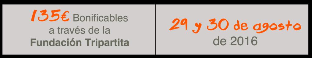 135€ Bonificables a través de la Fundación Tripartita, 29 y 30 de agosto